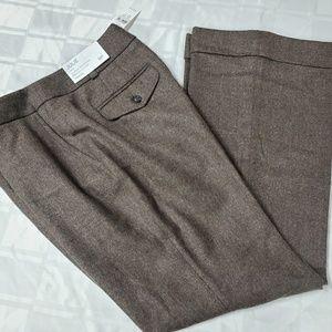 LOFT Brown Wool Curvy Julie sz 8P Pant #1117